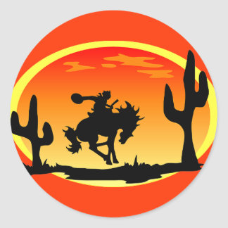 National Day of the Cowboy Bronco Silhouette Classic Round Sticker