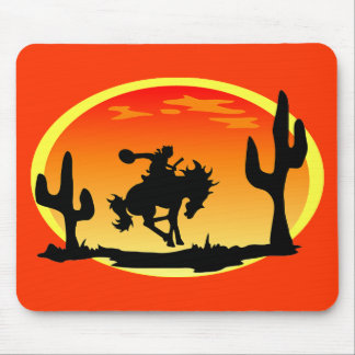 National Day of the Cowboy Bronco Silhouette Mouse Pad
