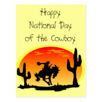 National Day of the Cowboy Bronco Silhouette Postcard