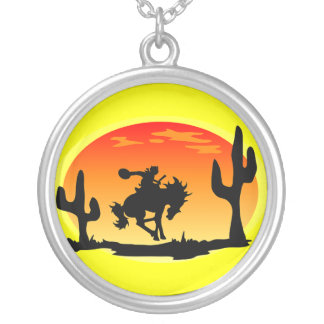 National Day of the Cowboy Bronco Silhouette Round Pendant Necklace