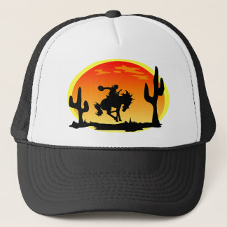National Day of the Cowboy Bronco Silhouette Trucker Hat