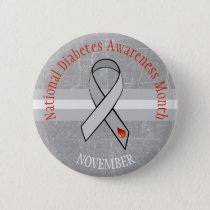 National Diabetes Month Gray Red Awareness Button