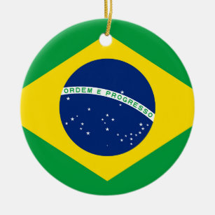 National Flag of Brazil, accurate proportion color Ceramic Ornament