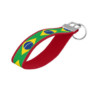 National Flag of Brazil, accurate proportion color Wrist Keychain