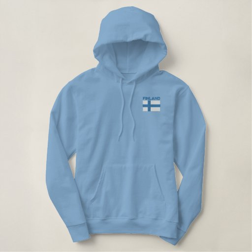 National Flag of Finland Embroidered Hoodie