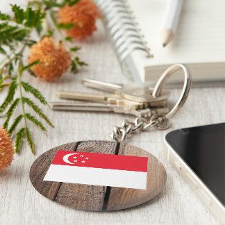 National Flag of Singapore Basic Round Button Keychain