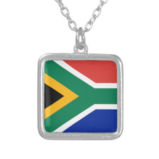 National flag of South Africa - Authentic version Square Pendant Necklace