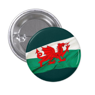 National Flag of Wales, The Red Dragon Patriotic 1 Inch Round Button