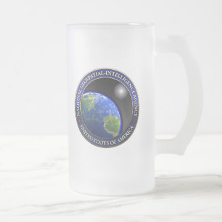 National Geospatial-Intelligence Agency (NGA) Frosted Glass Beer Mug