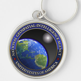 National Geospatial-Intelligence Agency (NGA) Silver-Colored Round Keychain