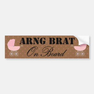 National Guard Brat On Board Pink Buggy Bumper Sticker