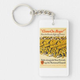 National Guard Come On Boys WWI Propaganda Keychain