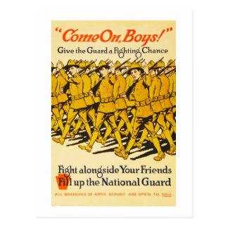 National Guard Come On Boys WWI Propaganda Postcard