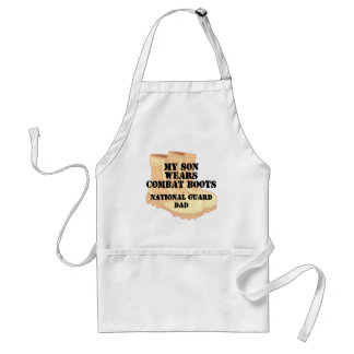 National Guard Dad Son wears DCB Apron