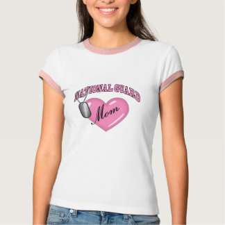 National Guard Mom Heart N Dog Tag T-Shirt