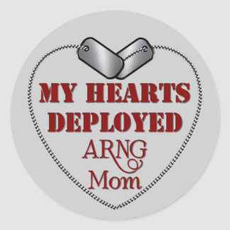 National Guard Mom, My Hearts Deployed Classic Round Sticker