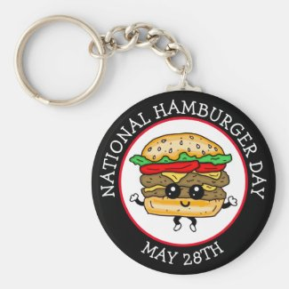 National Hamburger Day May 28th Keychain