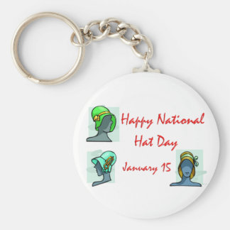 National Hat Day January 15 Keychain