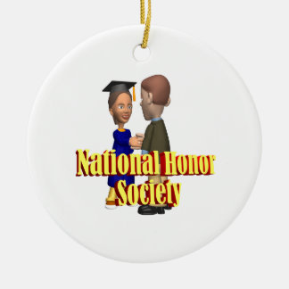 National Honor Society Double-Sided Ceramic Round Christmas Ornament
