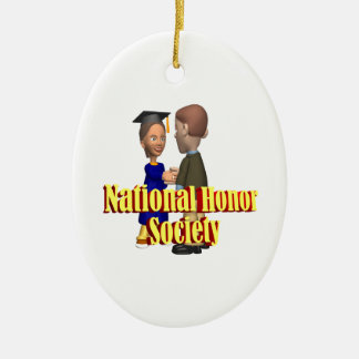 National Honor Society Double-Sided Oval Ceramic Christmas Ornament