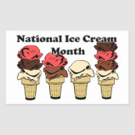 National Ice Cream Month Rectangle Stickers