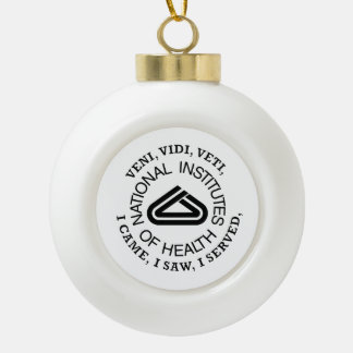National Institute of Health VVV Shield Ceramic Ball Christmas Ornament
