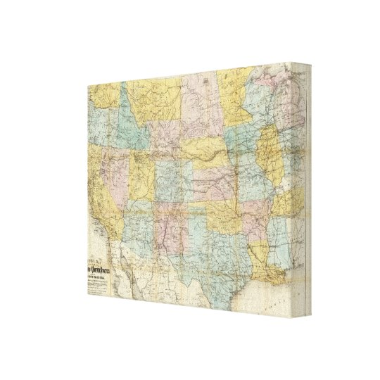 National Map Of The Territory Of The United States Canvas Print