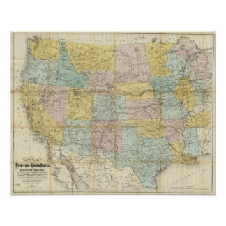 National Map Of The Territory Of The United States Poster