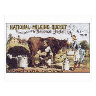 National Milking Bucket Detroit Michigan Postcard