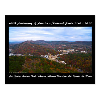National Park Anniversary Hot Springs Autumn View Postcard