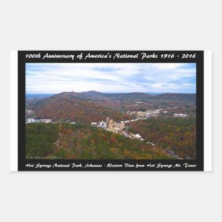 National Park Anniversary Hot Springs Autumn View Rectangular Sticker