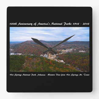 National Park Anniversary Hot Springs Autumn View Square Wall Clock