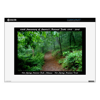 National Park Anniversary Hot Springs Mt Trail Laptop Decal