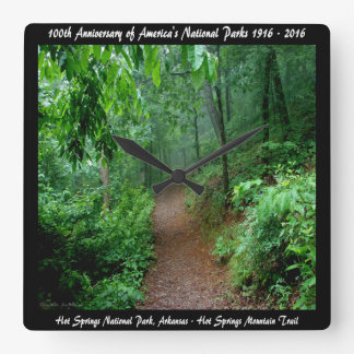 National Park Anniversary Hot Springs Mt Trail Square Wall Clock