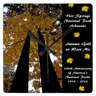 National Park Centennial Hot Springs Autumn Gold Square Wall Clock