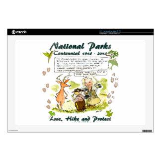 "National Park Centennial Photographer Cartoon 17"" Laptop Skins"