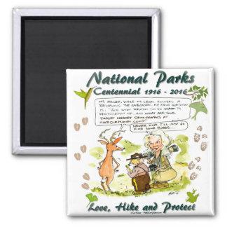 National Park Centennial Photographer Cartoon 2 Inch Square Magnet