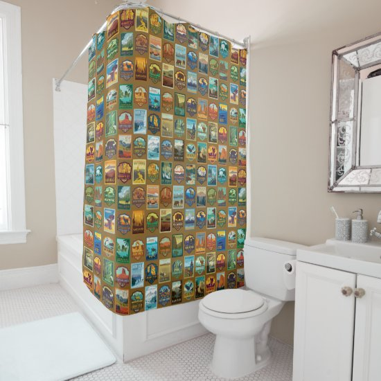 National Parks Pattern Shower Curtain