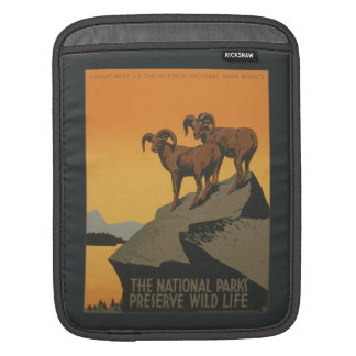 National Parks Preserve Vintage Ad. iPad Sleeve