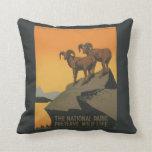 National Parks Preserve Vintage Ad. Pillows