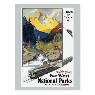 National Parks Travel by Train Postcard