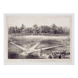National Pastime Baseball 1866 Poster