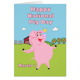 National Pig Day March 1st Greeting Card