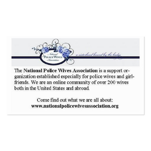 National police wives association referral cards zazzle for Zazzle referral cards