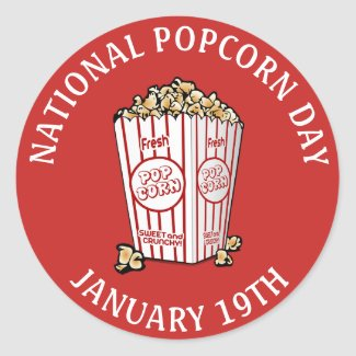 National Popcorn Day January 19th Stickers