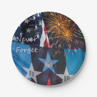National Remembrance Never Forget Paper Plate