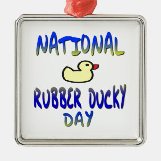 National Rubber Ducky Day Square Metal Christmas Ornament