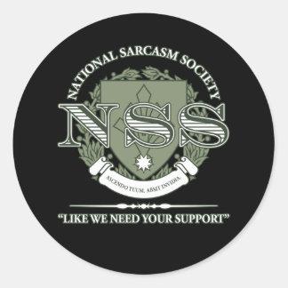 National Sarcasm Society Classic Round Sticker