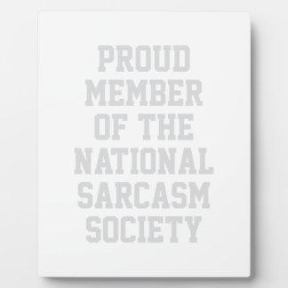 National Sarcasm Society Plaque