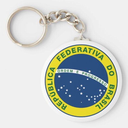 National Seal of Brazil Basic Round Button Keychain